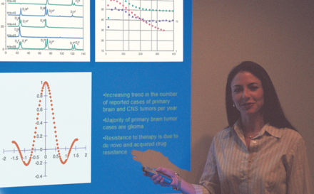 Researcher giving presentation with KaleidaGraph plots.