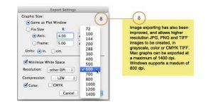 Dialog showing improved export options